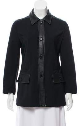 Prada Leather-Trimmed Casual Jacket