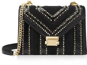 MICHAEL Michael Kors Whitney Large Gold-Tone Studded Leather Shoulder Bag