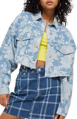 Topshop Floral Moto Two-Tone Denim Jacket