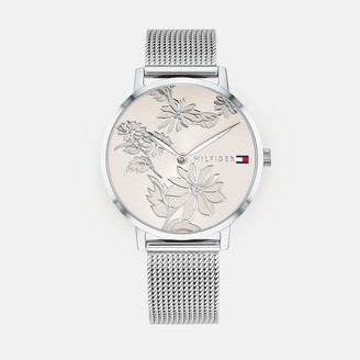 Tommy Hilfiger Silver Floral Watch With Mesh Band