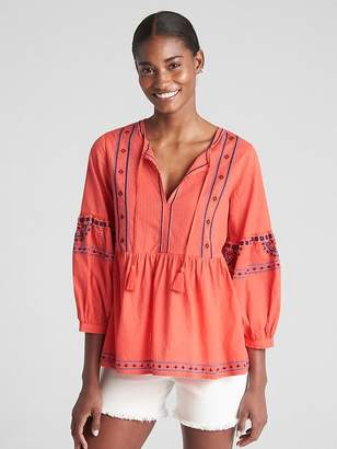 Gap Long Sleeve Embroidered Split-Neck Blouse