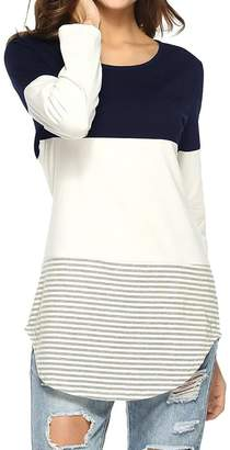 4dfc512f5aeaa LD-women clothes LD Womens Color Block Tunic Tops Casual Long Sleeve O-Neck