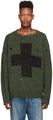 R 13 Green Cross Donegal Sweater