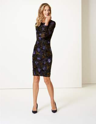 Marks and Spencer Floral Print Bodycon Midi Dress