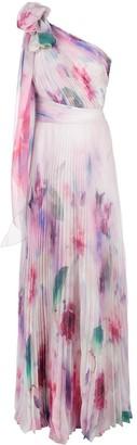 Marchesa one shoulder floral print chiffon gown