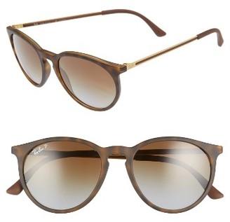 Women's Ray-Ban 53Mm Polarized Round Sunglasses - Brown/ Grey Polar $175 thestylecure.com