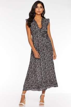 63ec6961705c3b Quiz Red Ditsy Print Frill V Neck Maxi Dress