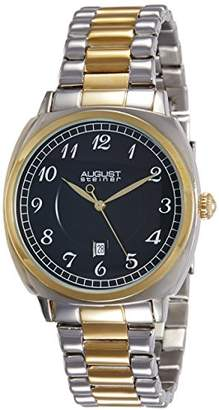August Steiner Men's AS8160TTG Silver And Gold Swiss Quartz Watch with Black Dial and Two Tone Bracelet