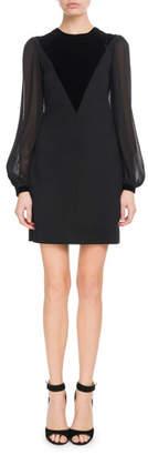 Givenchy Velvet V-Front Sheer Long-Sleeve Wool Cocktail Dress
