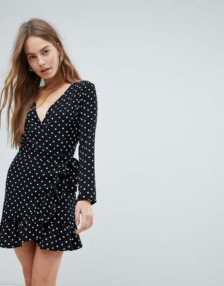 Bershka Polka Dot Long Sleeve Wrap Dress