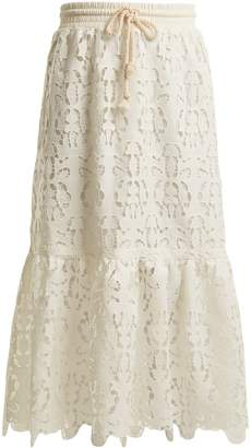 See by Chloe Drawstring-waist lace skirt