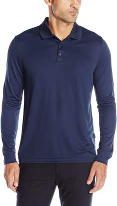 Perry Ellis Men's 3 Button Long Sleeve Jacquard Polo