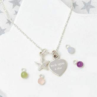 Tales From The Earth Personalised Birthstone 'Wish Upon A Star' Necklace