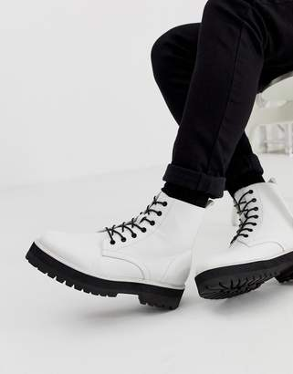 14ef710dae4 Asos Design DESIGN lace up boot in white faux leather with raised chunky  sole
