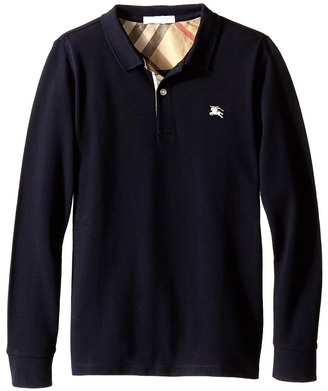 Burberry Kids - Mini Pique Polo Shirt Boy's Long Sleeve Pullover $75 thestylecure.com