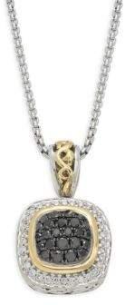 Black Diamond Ivy Sterling Silver, 18K Yellow Gold, & Diamond Pendant Necklace