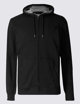 Marks and Spencer Cotton Rich Regular Fit Zip Through Hoody