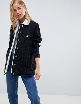 Asos Design DESIGN denim jacket with borg collar in washed black