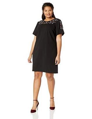 Calvin Klein Women's Plus Size Short Sleeve Embroidered Shift Dress