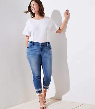 LOFT Plus Tasseled Skinny Jeans