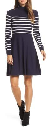 Eliza J Stripe Mock Neck Fit & Flare Dress