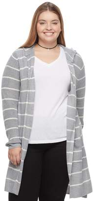 So Juniors' Plus Size SO Hooded Long Cardigan Sweater