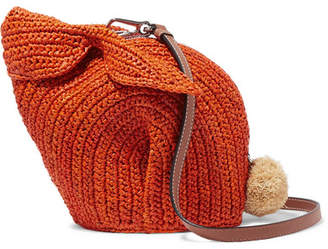 Loewe Bunny Mini Leather-trimmed Raffia Shoulder Bag - Orange