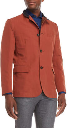 Luciano Barbera Lightweight Cotton-Linen Blazer Jacket