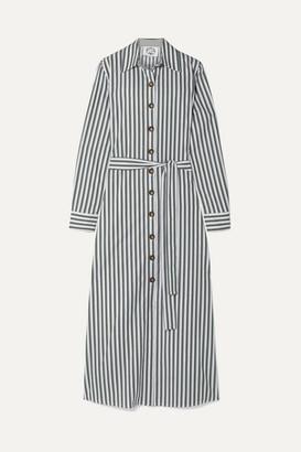 Evi Grintela Valerie Belted Striped Cotton-poplin Midi Dress - Green