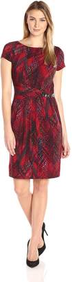 Ellen Tracy Women's Short Sleeve Printed Jersey Dress, Red/Multi
