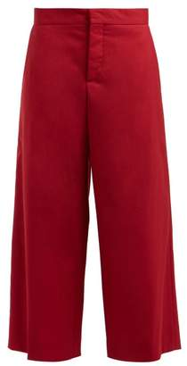Marni Cropped Wool Trousers - Womens - Burgundy