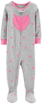 Carter's Footed Pajama - Baby Girl Girls Knit One Piece Pajama Long Sleeve Round Neck