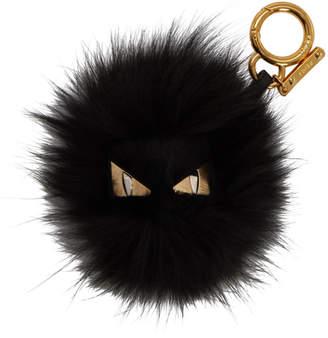 Fendi Black Fur Bag Bugs Keychain
