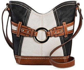Bolo Women's Faux Leather Crossbody Handbags - Black/White/Brown $34.99 thestylecure.com