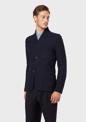 Giorgio Armani Deconstructed Jacket With Shawl Collar In Virgin Wool
