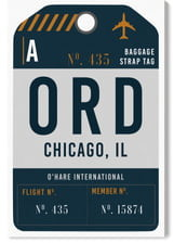 Oliver Gal Chicago Luggage Tag Wall Art
