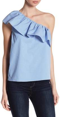 1 STATE 1.State One-Shoulder Ruffle Striped Print Top