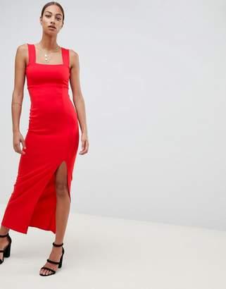 Asos Design DESIGN square neck maxi dress with thigh split