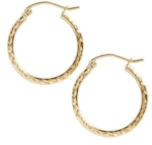 Fine Jewellery 14K Yellow Gold Diamond Cut Hoop Earrings