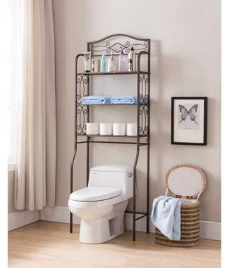 Pilaster Designs Leeds Over The Toilet Bathroom Spacesaver Storage Rack Organizer, Pewter Metal, 3 Tier, Transitional