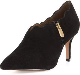 Adrienne Vittadini Scalloped Suede Side-Zip Bootie, Black $109 thestylecure.com