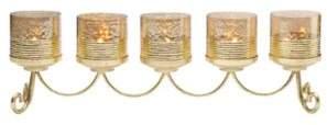 Lifetime Brands Cylinder Linear Candle Holder in Gold