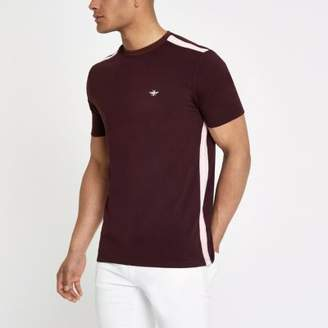 River Island Dark red tape muscle fit T-shirt