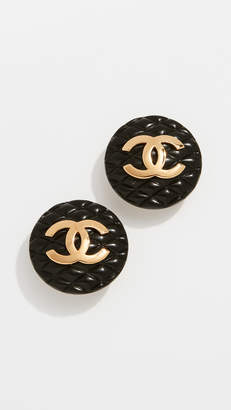 Chanel What Goes Around Comes Around CC Round Clip On Earrings
