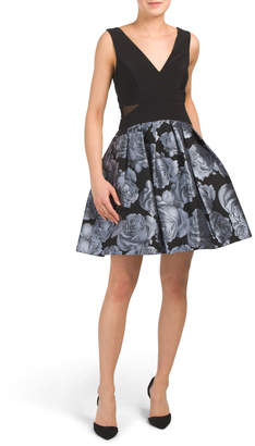 Made In Usa Foil Floral Party Dress