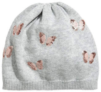 H&M Fine-knit hat with sequins - Gray