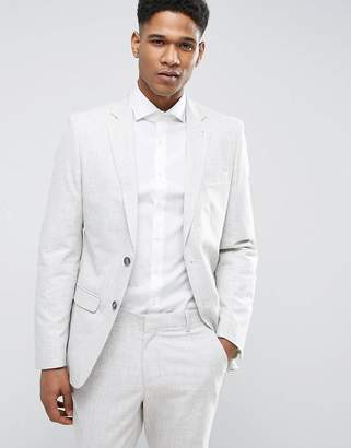 New Look Suit Jacket With Crosshatch Detail In Off White