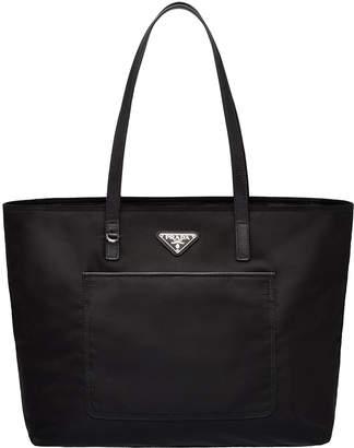 Prada Vela Nylon Shoulder Tote Bag with Front Pocket