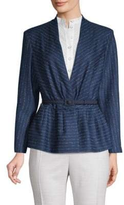 Carolina Herrera Belted Pinstripe Peplum Jacket