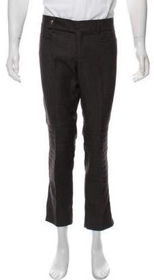 Gucci Leather-Trimmed Wool Pants